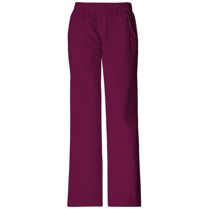 Cherokee Workwear Core Stretch 4005 Scrubs Pants Women's Mid Rise Pull-On Cargo Wine