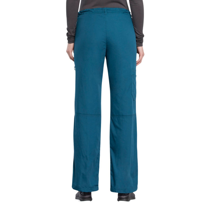 Cherokee Workwear 4020 Scrubs Pants Women's Low Rise Drawstring Cargo Caribbean Blue L