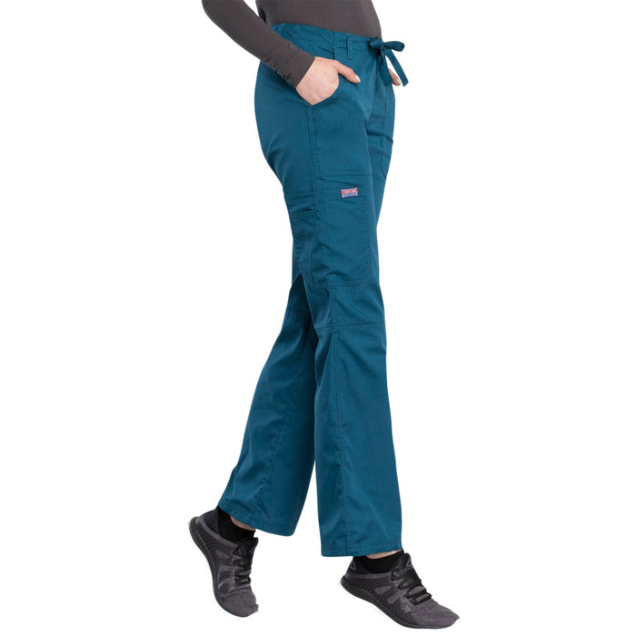 Cherokee Workwear 4020 Scrubs Pants Women's Low Rise Drawstring Cargo Caribbean Blue XL