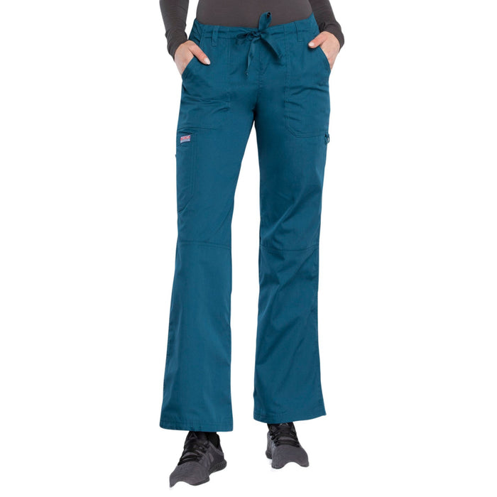Cherokee Workwear 4020 Scrubs Pants Women's Low Rise Drawstring Cargo Caribbean Blue