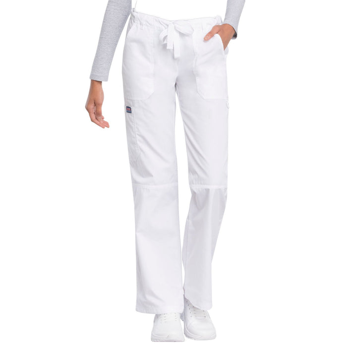 Cherokee Workwear 4020 Scrubs Pants Women's Low Rise Drawstring Cargo White