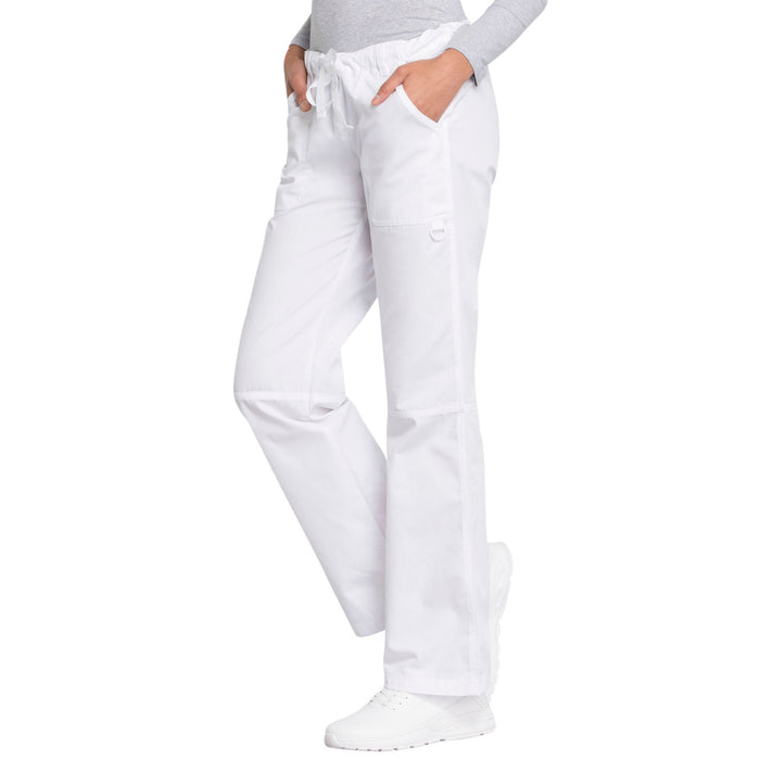 Cherokee Workwear 4020 Scrubs Pants Women's Low Rise Drawstring Cargo White 3XL