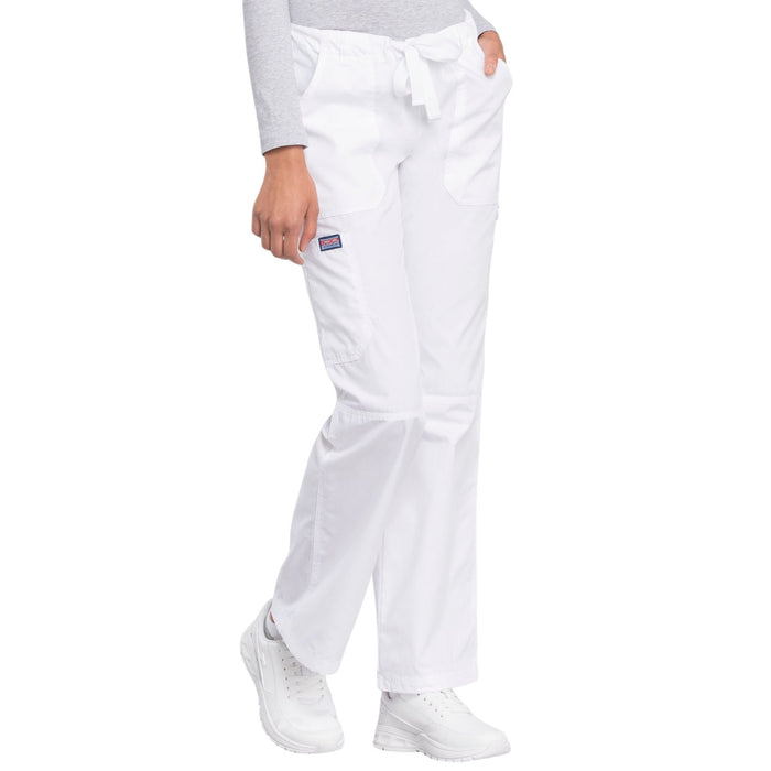 Cherokee Workwear 4020 Scrubs Pants Women's Low Rise Drawstring Cargo White L