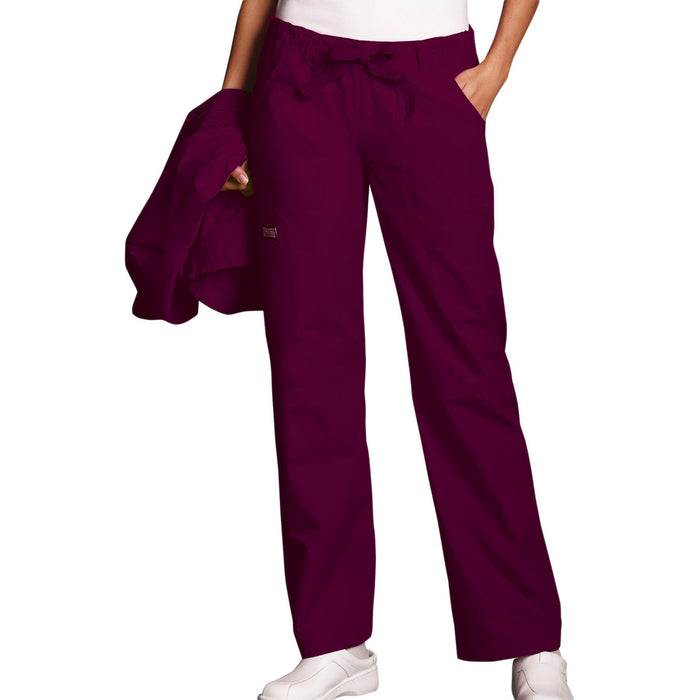 Cherokee Workwear 4020 Scrubs Pants Women's Low Rise Drawstring Cargo Wine