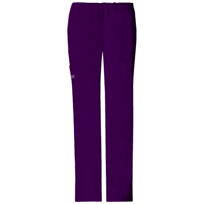 Cherokee Workwear Core Stretch 4044 Scrubs Pants Women's Mid Rise Drawstring Cargo Eggplant