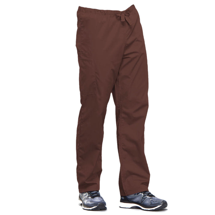 Cherokee Workwear 4100 Scrubs Pants Unisex Drawstring Cargo Chocolate 3XL