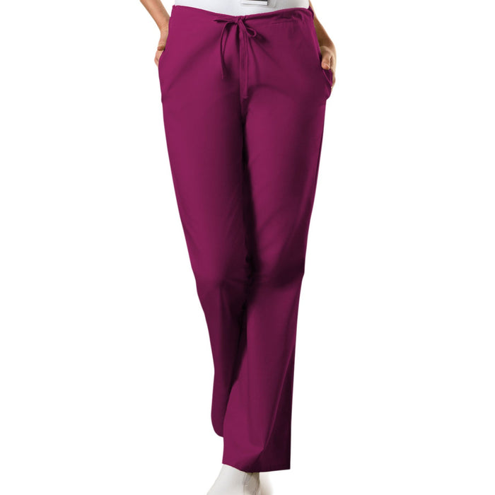 Cherokee Workwear 4101 Scrubs Pants Women's Natural Rise Flare Leg Drawstring Wine