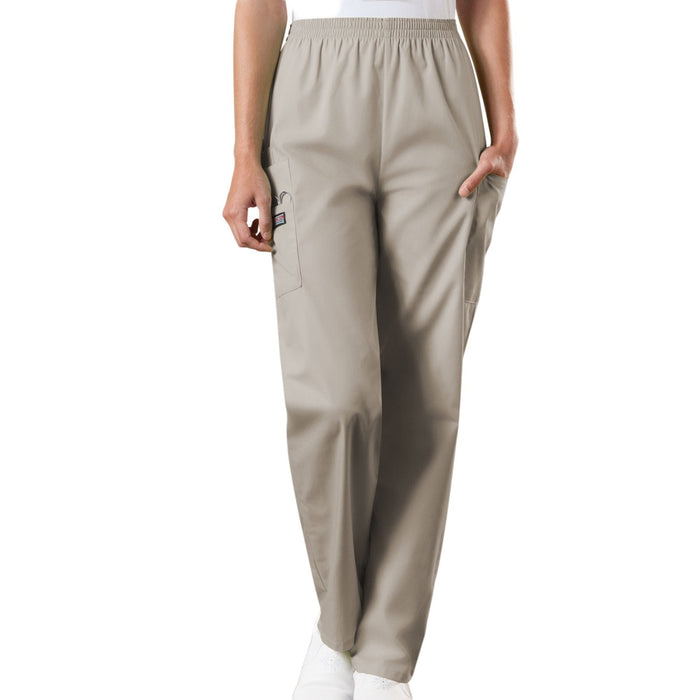 Cherokee Workwear 4200 Scrubs Pants Women's Natural Rise Tapered Pull-On Cargo Khaki