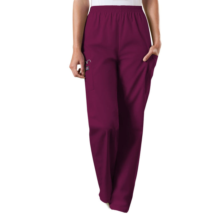 Cherokee Workwear 4200 Scrubs Pants Women's Natural Rise Tapered Pull-On Cargo Wine