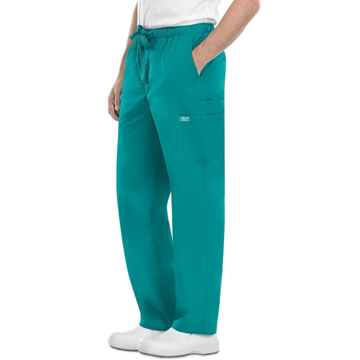 Cherokee Workwear Core Stretch 4243 Scrubs Pants Men's Drawstring Cargo Teal Blue