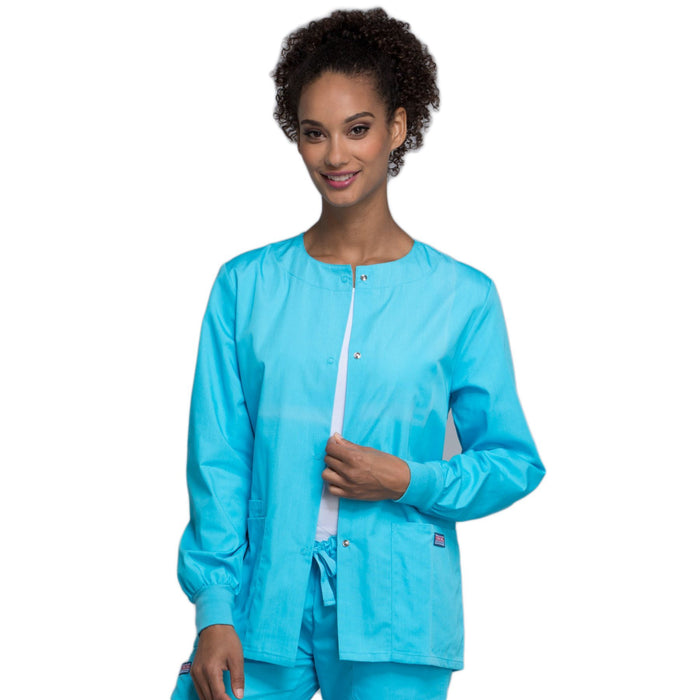 Cherokee Workwear 4350 Scrubs Jacket Women's Snap Front Warm-Up Turquoise