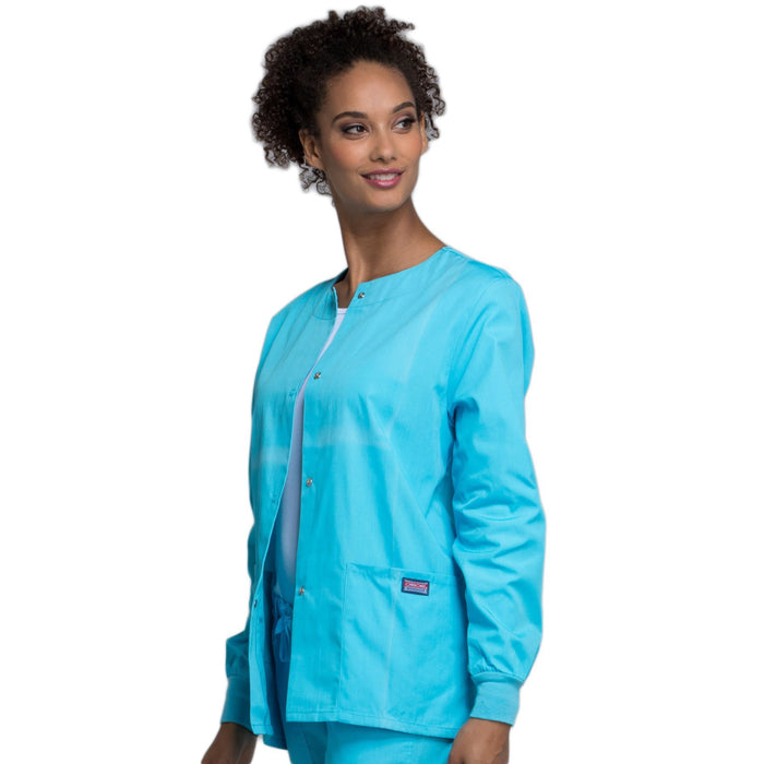 Cherokee Workwear 4350 Scrubs Jacket Women's Snap Front Warm-Up Turquoise 3XL