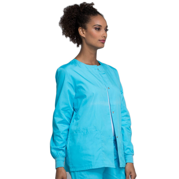 Cherokee Workwear 4350 Scrubs Jacket Women's Snap Front Warm-Up Turquoise 4XL
