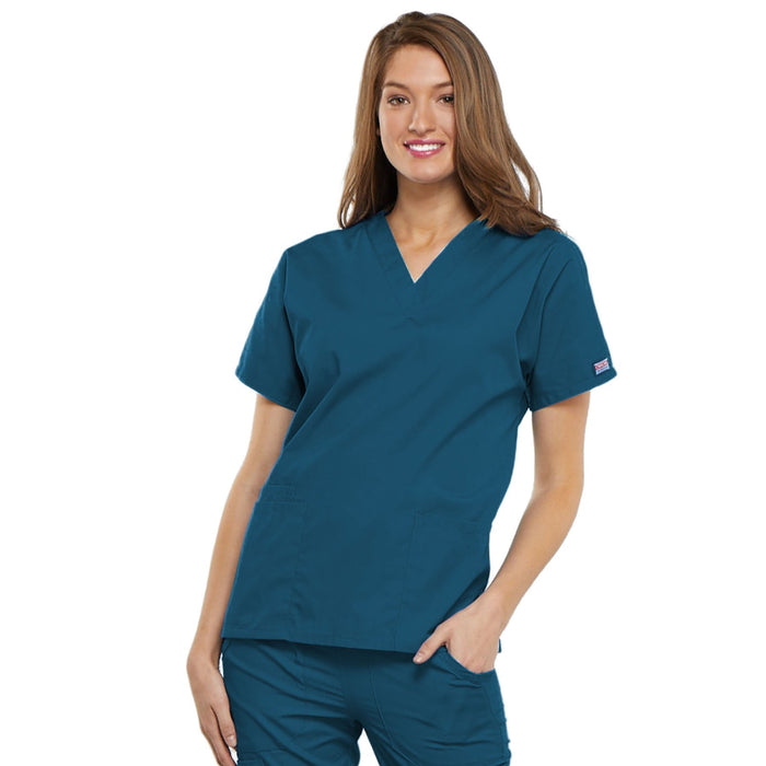 Cherokee Workwear 4700 Scrubs Top Women's V-Neck Caribbean Blue