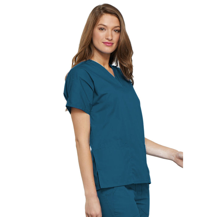Cherokee Workwear 4700 Scrubs Top Women's V-Neck Caribbean Blue 5XL
