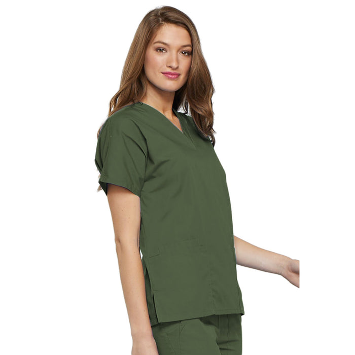 Cherokee Workwear 4700 Scrubs Top Women's V-Neck Olive 5XL