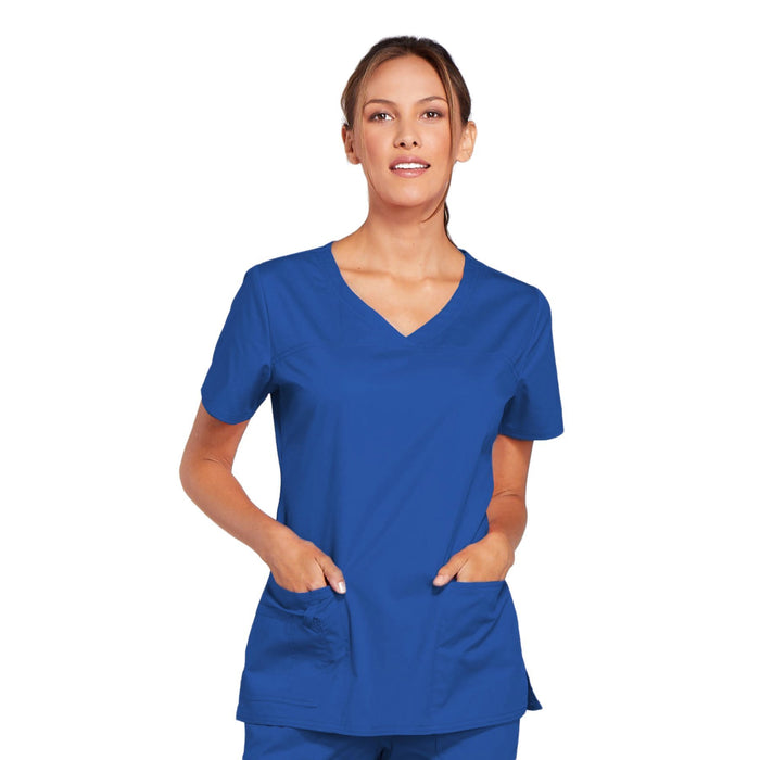 Cherokee Core Stretch 4727 Scrubs Top Women's V-Neck Royal