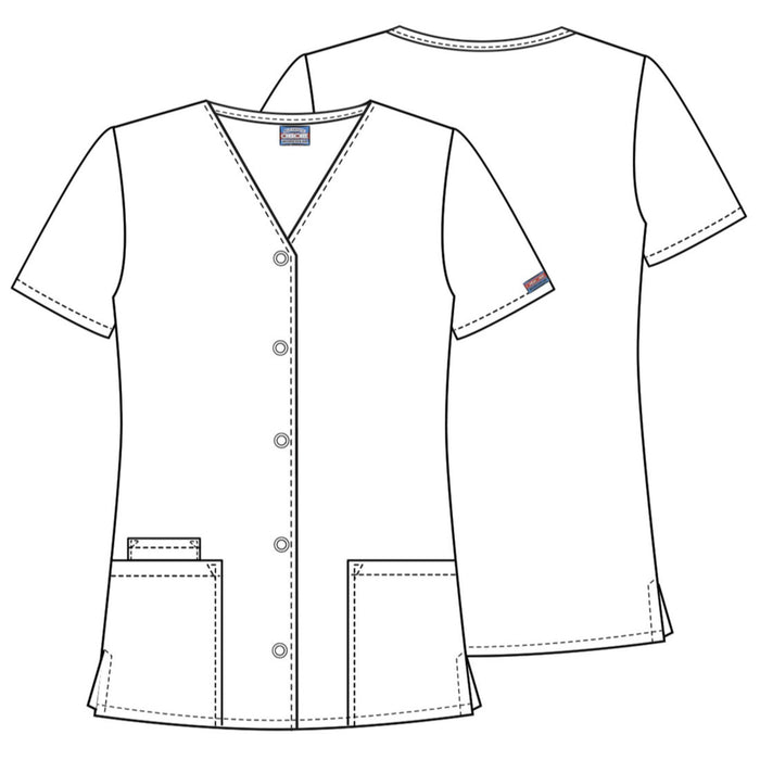 Cherokee Workwear 4770 Scrubs Top Women's Snap Front V-Neck White 3XL