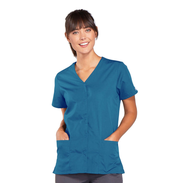 Cherokee Workwear 4770 Scrubs Top Women's Snap Front V-Neck Caribbean Blue