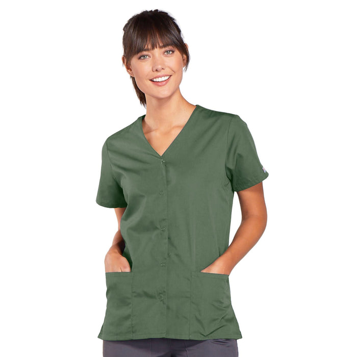 Cherokee Workwear 4770 Scrubs Top Women's Snap Front V-Neck Olive
