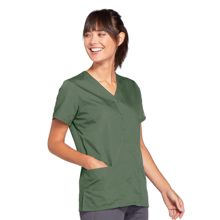 Cherokee Workwear 4770 Scrubs Top Women's Snap Front V-Neck Olive 4XL