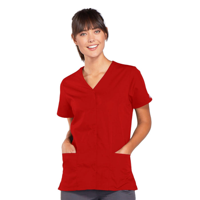 Cherokee Workwear 4770 Scrubs Top Women's Snap Front V-Neck Red