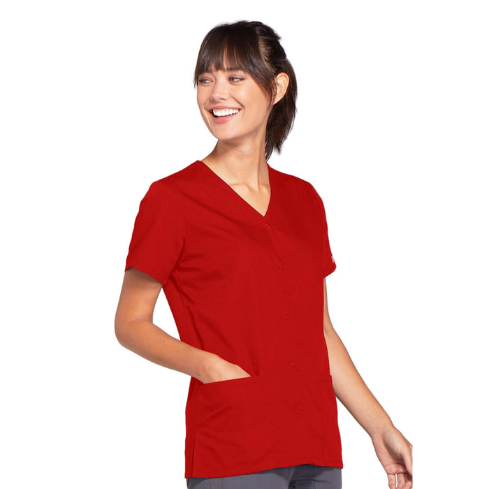 Cherokee Workwear 4770 Scrubs Top Women's Snap Front V-Neck Red 4XL