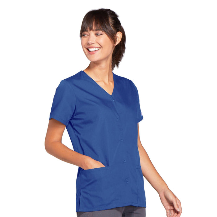 Cherokee Workwear 4770 Scrubs Top Women's Snap Front V-Neck Royal 4XL