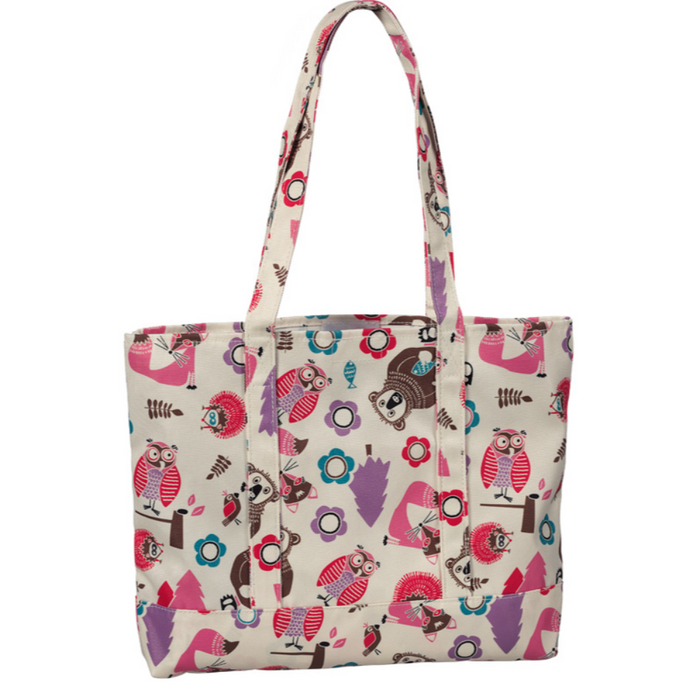 Prestige Fashion Tote Bags Woodsy Animals Cream