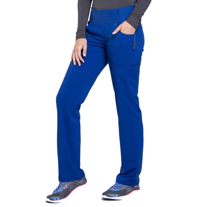 Cherokee iflex CK002 Scrubs Pants Women's Mid Rise Straight Leg Pull-on Galaxy Blue 3XL
