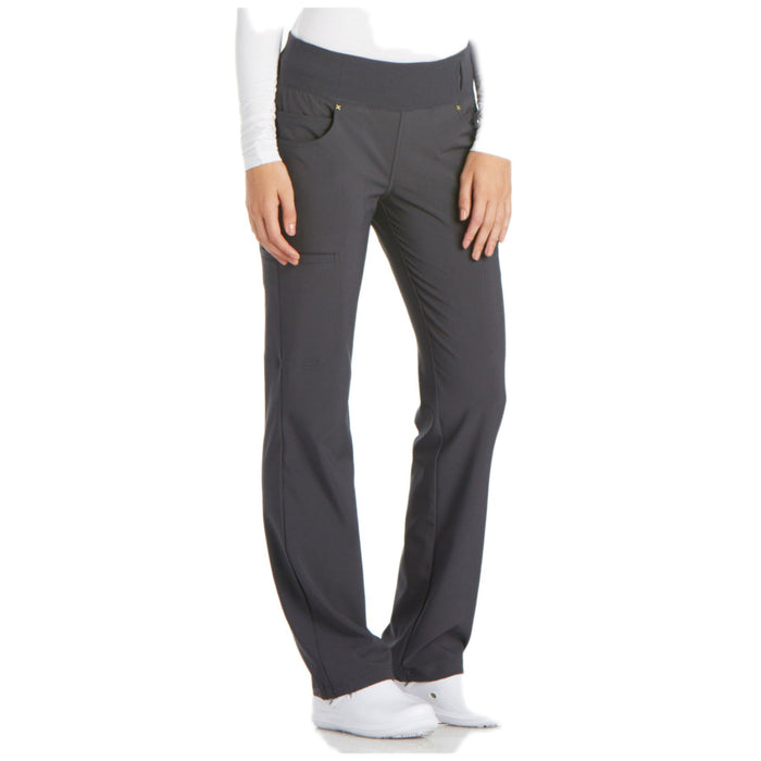 Cherokee iflex CK002 Scrubs Pants Women's Mid Rise Straight Leg Pull-on Pewter