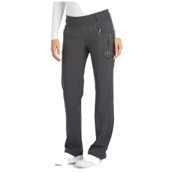 Cherokee iflex CK002 Scrubs Pants Women's Mid Rise Straight Leg Pull-on Pewter 3XL
