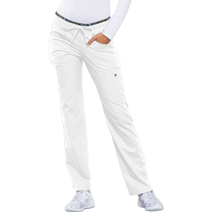 Cherokee Luxe Sport CK003 Scrubs Pants Women's Mid Rise Straight Leg Pull-on White