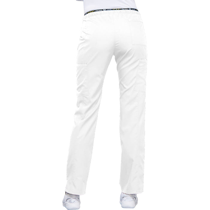 Cherokee Luxe Sport CK003 Scrubs Pants Women's Mid Rise Straight Leg Pull-on White 3XL