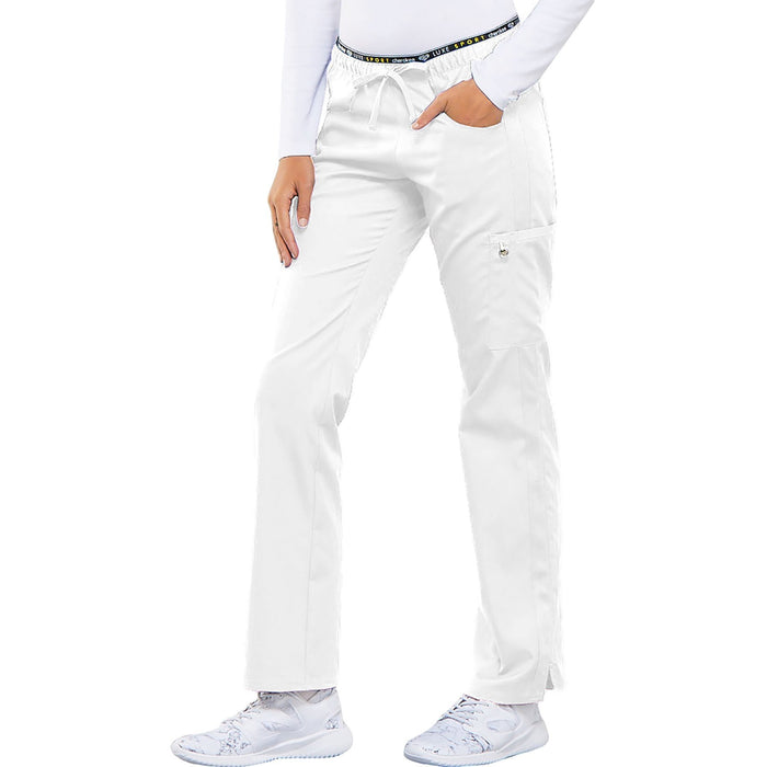 Cherokee Luxe Sport CK003 Scrubs Pants Women's Mid Rise Straight Leg Pull-on White 4XL