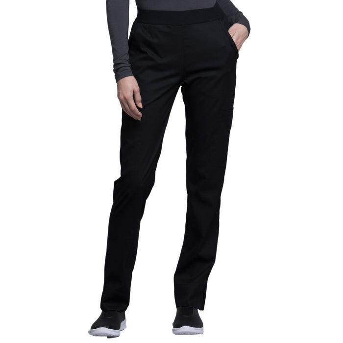 Cherokee Luxe CK040 Scrubs Pants Women's Natural-Rise Tapered Leg Black