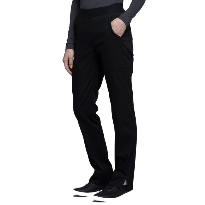 Cherokee Luxe CK040 Scrubs Pants Women's Natural-Rise Tapered Leg Black L