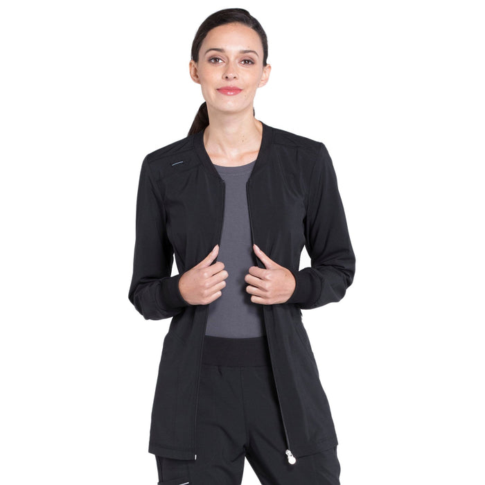 Cherokee Infinity CK370A Scrubs Jacket Women's Zip Front Warm-Up Black