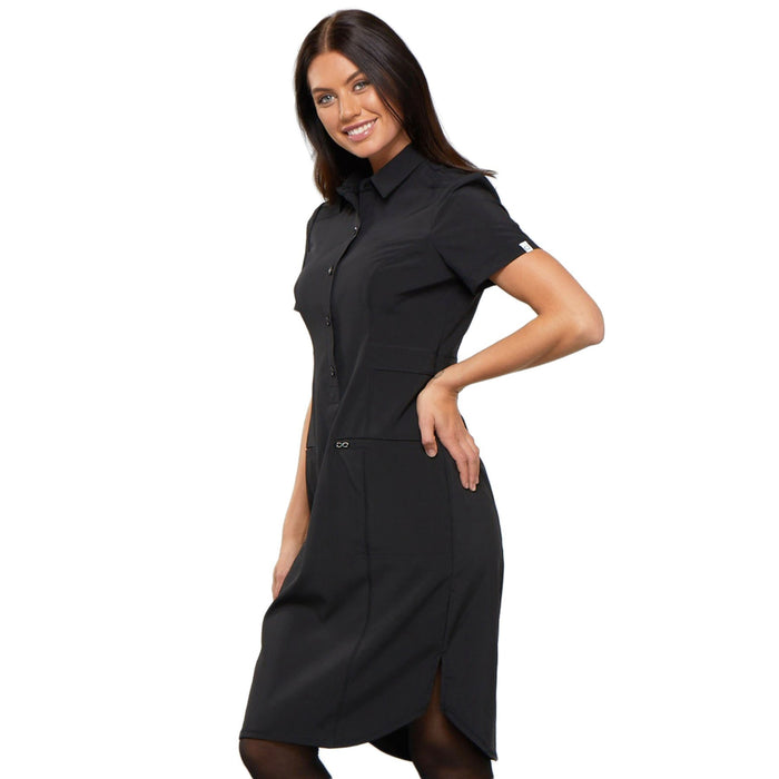 "Cherokee Infinity CK510A Dress Women's 39"" Button Front Black L"