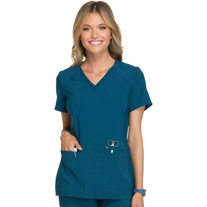 Cherokee iflex CK605 Scrubs Top Women's V-Neck Knit Panel Caribbean Blue 4XL