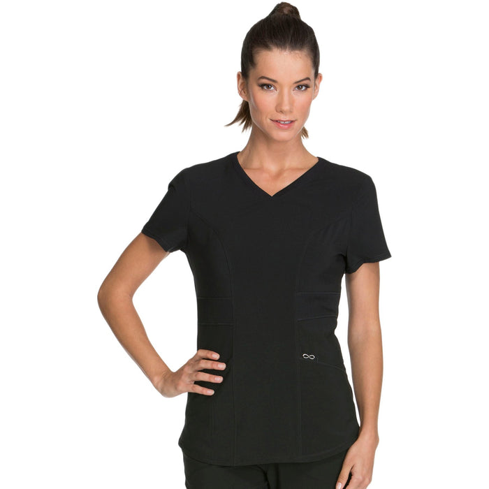 Cherokee Infinity CK623A Scrubs Top Women's V-Neck Black