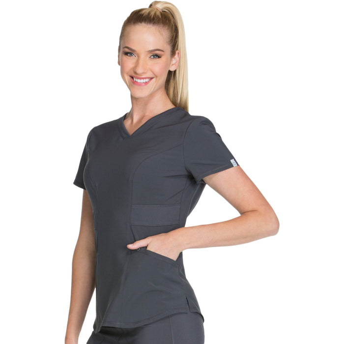 Cherokee Infinity CK623A Scrubs Top Women's V-Neck Pewter 4XL