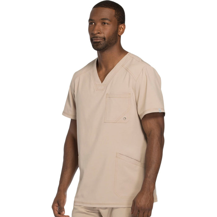Cherokee Infinity CK900A Scrubs Top Men's V-Neck Khaki 4XL