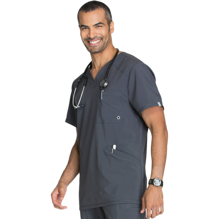 Cherokee Infinity CK900A Scrubs Top Men's V-Neck Pewter 4XL