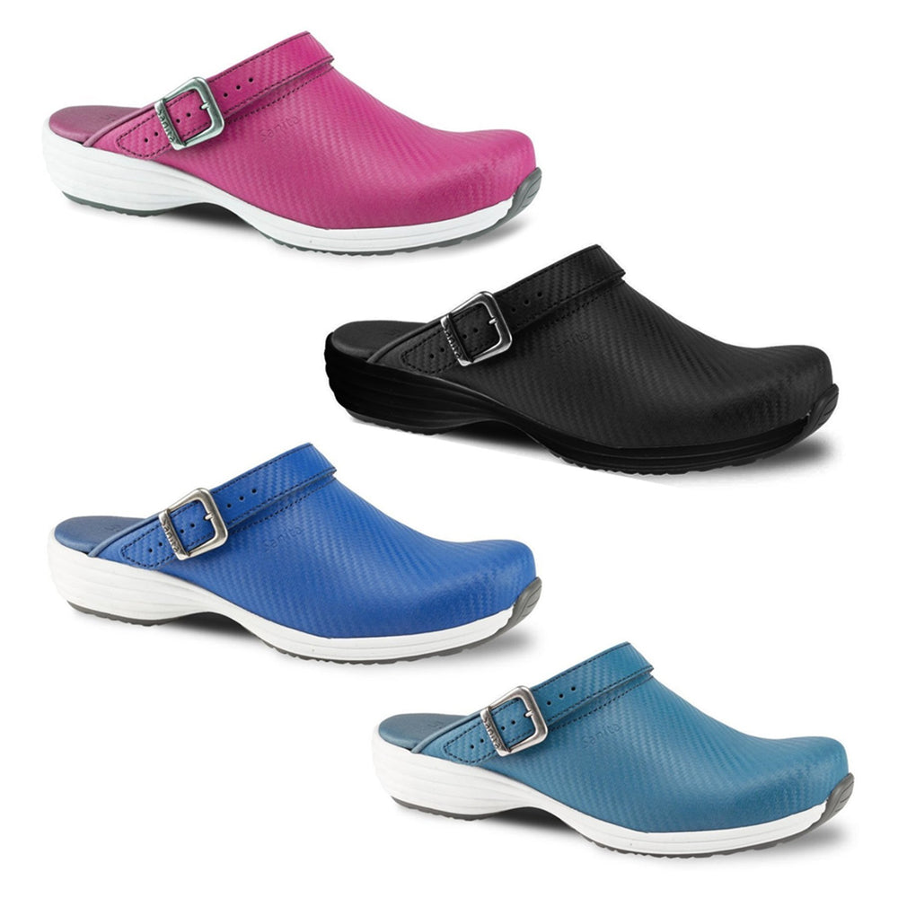 Sanita Wave Leather Clogs with Carbon Style Open Heel