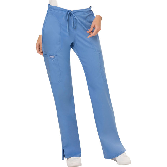 Cherokee Workwear Revolution WW120 Scrubs Pants Women's Mid Rise Flare Drawstring Ceil Blue