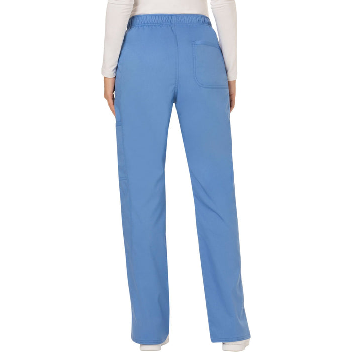 Cherokee Workwear Revolution WW120 Scrubs Pants Women's Mid Rise Flare Drawstring Ciel Blue 3XL