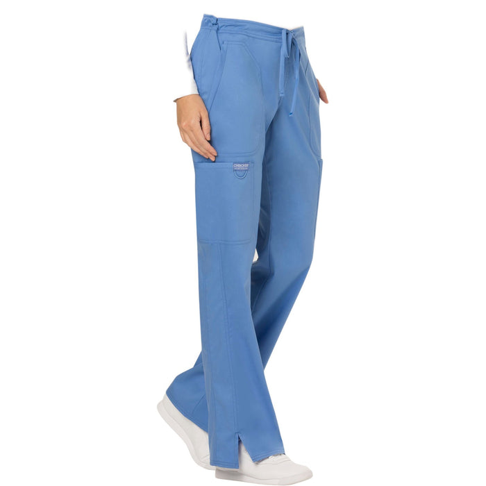 Cherokee Workwear Revolution WW120 Scrubs Pants Women's Mid Rise Flare Drawstring Ciel Blue 5XL