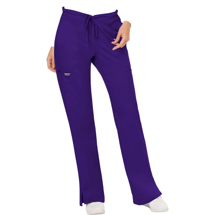 Cherokee Workwear Revolution WW120 Scrubs Pants Women's Mid Rise Flare Drawstring Grape