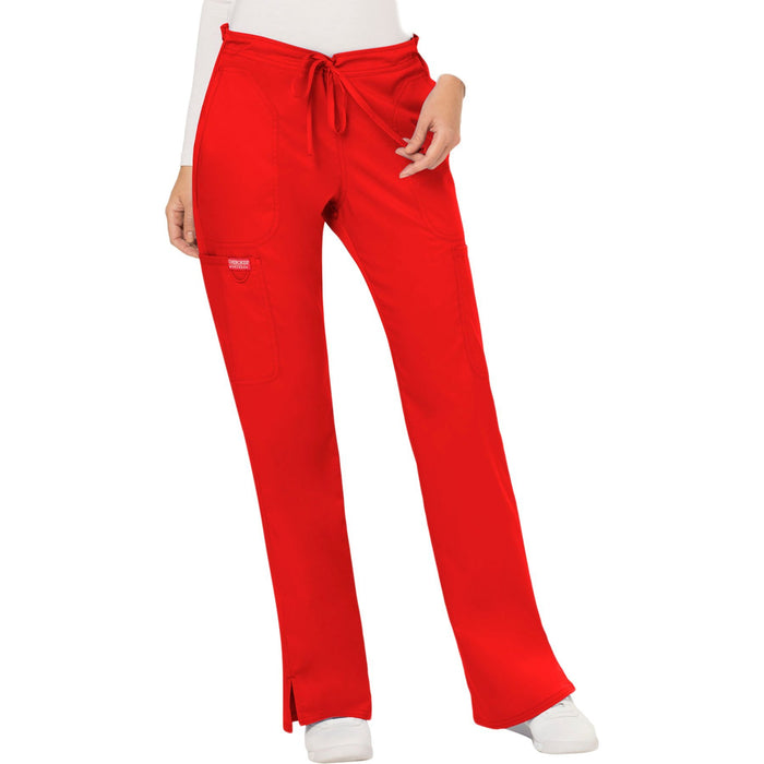 Cherokee Workwear Revolution WW120 Scrubs Pants Women's Mid Rise Flare Drawstring Red